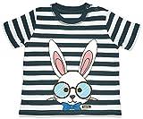HARIZ Camiseta de rayas para bebé, conejo con gafas, animales Zoo Plus, tarjetas de regalo, azul marino y blanco lavado 12-18 meses