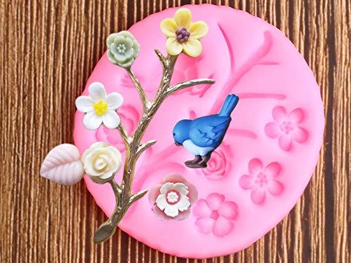 YNNN 3D Pájaro Moldes de Silicona Flor Árbol Ramas Cupcake Topper Fondant Molde Pastel Decoración Herramientas Chocolate Gumpaste Candy Clay Moldes
