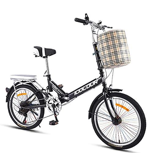 DODOBD Bici Pieghevole da 20 Pollici Unisex-Adult, City Bike Pieghevole, Telaio in Acciaio ad Alto Tenore di Carbonio Folding Bike Adatto per Donne Uomini e Adolescenti Bici da Città