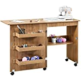 Kealive Foldable Sewing Table, Sewing Craft Cart with Adjustable Storage Shelves and Lockable Casters, Easy Assemble Multi-Function Wood Sewing Desk for Small Space, Brown