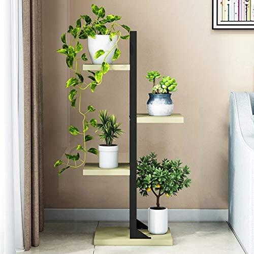 Flower Stand, Multi-Layer Plant Stand, Smeedijzeren Indoor Ruimtebesparende Bloem Plank Woonkamer Balkon (vier Verdiepingen)