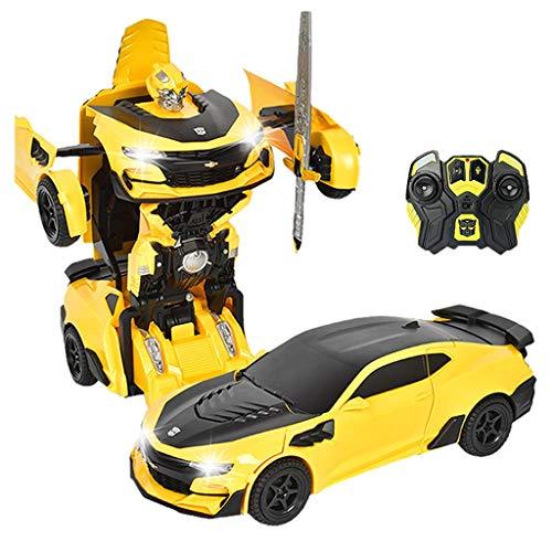 Robot Deformation Trasforming Automobile, con dispositivo di induzione, Bumblebee, telecomando da 2,4 GHz, conversione con telecomando a un telecomando, robot telecomando, regali for ragazzi e ragazze