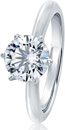 HB AMERICA Sterling Silver Round 1.5ct CZ 6 Prong Classic Solitaire Wedding Engagement Ring 7.5MM...