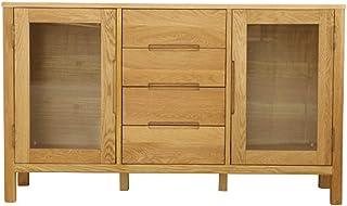 JOMSK Buffet Bois Buffet Vestibule Bar Cabinet Rangement Cuisine Salle à Manger Bahut Table d'appoint (Color : Wood, Size...