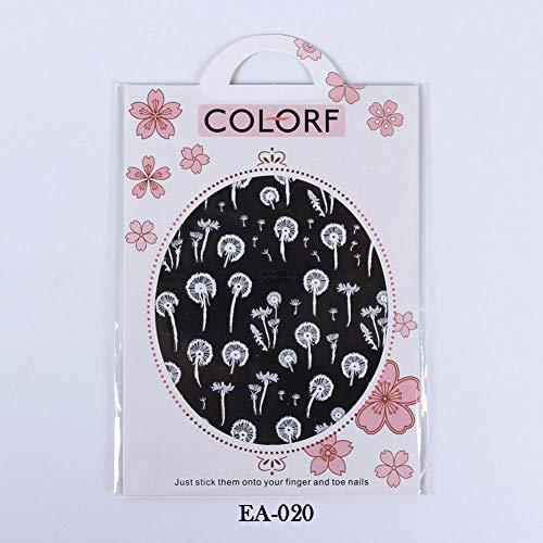 N-A Autocollants à Ongles 3D Fleur en Relief Curseurs Auto-adhésifs Noir Blanc Nail Art Décoration Wraps Décalcomanies Feuille Conseils