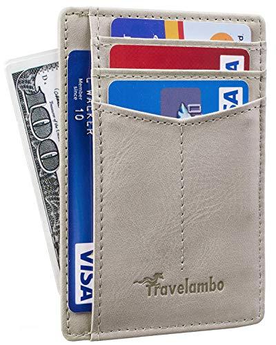 Travelambo Geldbörse, minimalistisch, Leder, RFID-blockierend, Größe M Grau Graues Licht Einheitsgröße