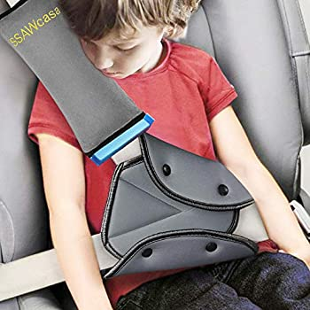 Seat Belt Adjuster and Pillow with Clip for Kids Travel,Neck Support Headrest Seatbelt Pillow Cover & Seatbelt Adjuster for Child,Car Seat Strap Cushion Pads for Baby Short People Adult  Gray