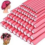 70 Pack 9.4 Inch Flex-rods Hair Rollers+Silk Sleep Bonnet Cap, Twist-flex Foam Hair Roller Curling Rods-Hair Curlers Rollers Hair Curlers Rollers for Short, Medium, Long Thick Hair(7 Size Pink)