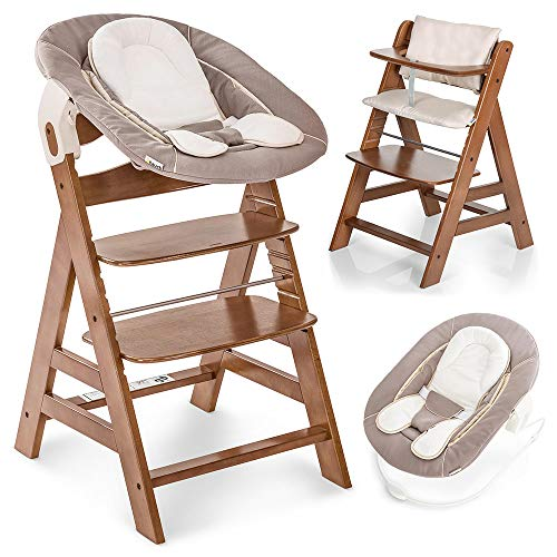 Hauck Alpha Plus Newborn Set - Trona de madera evolutiva bebés, incluye hamaca para recién nacidos, cojín gratis, altura regulable - color nogal/beige