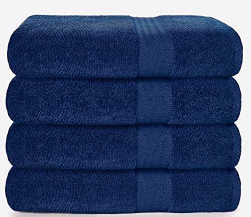 Glamburg Premium Cotton 4 Pack Bath Towel Set - 100% Pure Cotton - 4 Bath Towels 27x54 - Ideal for Everyday use - Ultra Soft & Highly Absorbent - Navy