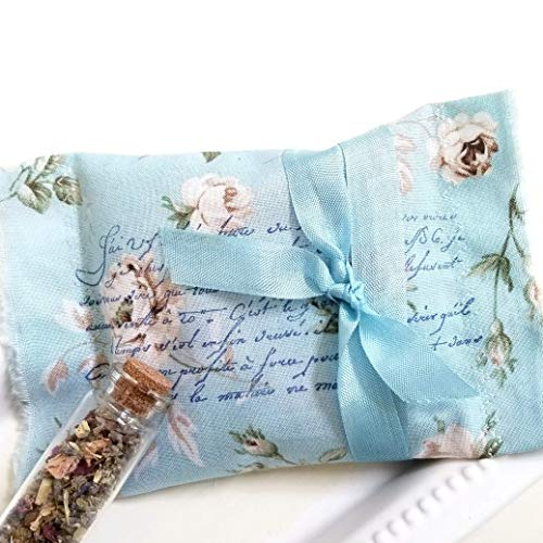 Herbal Dream Pillow, Natural Sleep Sachet - Promotes Sweet Dreams, Peaceful Slumber with Aromatherapy, Recovery Gift - French Floral Blue