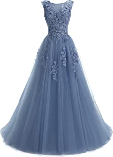 Women's Sweep Lace Appliques Scoop Collar Tulle A-Line Prom Dresses