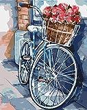 Pintar por Numeros Adultos Flores De Bicicleta Pintura Guiada por Numeros Pint por Número de Kits for Adultos Mayores Avanzada Niños Joven - Paint by Numbers 40x50cm (sin marco)