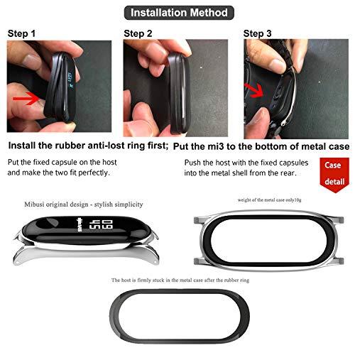 BDIG Mi band 3 Mi Band 4 strap Replacement Leather Strap Wristband WatchBand Accessories for Xiaomi Mi Band 4 Mi Band 3(Original Fashion Design) (Plus Brown Silver)