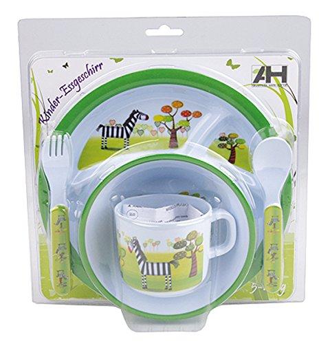 Baby Esset Kindergeschirr 5tlg mit Teller Besteck Schale Tasse 3 Farben wählbar (grün - lustige Giraffe)