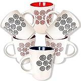 Yuri Blumian. Tazas Desayuno. Set - Pack de 6 Unidades. Tazas de cerámica en Dos Vivos Colores: 3 Ro...
