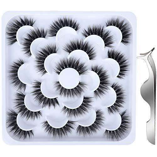 10 Paare Künstliche Wimpern, FANDAMEI Falsche Wimpern Natürlich 3D Wimpern Set Unechte Wimpern Lange Wimpern Faux-Nerz Wimpern Wiederverwendbar Schwarz