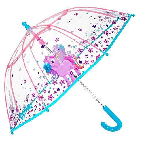 Paraguas Transparente Unicornio Niña - Paraguas Infantil de Burbuja Cupula de Colores con Estrellas Resistente Antiviento - Apertura Manual de Seguridad 3/6 Años - 64 cm Diám - Perletti (Transparente)