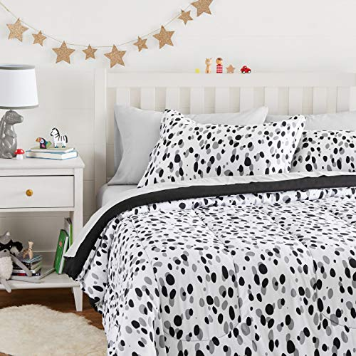 Amazon Basics Easy Care Super Soft Microfiber Kid's Bed-in-a-Bag Bedding Set - Full / Queen, Black Shadow Dots