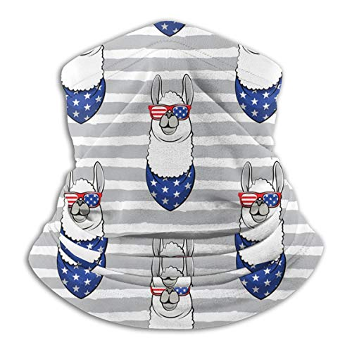 American Flag Cool Llama Gray Stripes Multifunctional Neck Gaiter Warmer Windproof Mask Dust Sports Face Mask Half Balaclava Ski Mask Cold Weather Bandana Women Men Outdoors Festivals Unisex Adult
