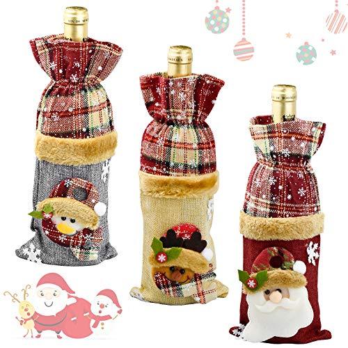 Demason 2 Pcs Bolsa de Botella de Vino Funda Divertido de Vino Decoración de Mesa Cubierta Tapa de Botella de Vino Papá Noel Decoración Navideña Regalos Navidad Baratos Detalles de Navidad(29*13cm)