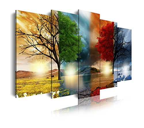 DekoArte 243 - Cuadros Modernos Impresión de Imagen Artística Digitalizada | Lienzo Decorativo para Salón o Dormitorio | Estilo Paisaje Cuatro Estaciones del año Árboles Rojo | 5 Piezas 200x100cm XXL