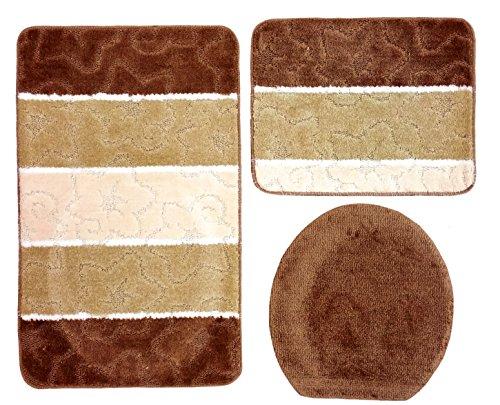 Ilkadim Orion Badgarnitur 3 TLG. Set 50x80 cm Mehrfarbig gestreift, WC Vorleger ohne Ausschnitt für Hänge-WC (braun beige Creme)