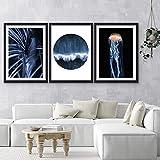 Cracquet Nautical Abstract Blue Cartel Set 3 Pósters Impresión de la pared plana Poster Decoración de arte sin marco,40 * 50cm