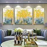 Stella Fella Pachira Triple Mural de lujo marco dorado 5D Diamond Crystal Porcelana Pintura Villa Casa Sala Decoración de Pared 3pcs / Set