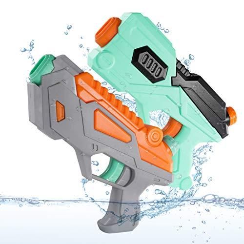 O-Kinee Pistole ad Acqua, 2 Squirt Gun Giocattolo Estivi Pistole a Spruzzo d\'Acqua Water Gun Blaster per Piscina Estiva All\'aperto Divertimento Acqua sulla Spiaggia per Bambini Adulti, Grigio e Verde
