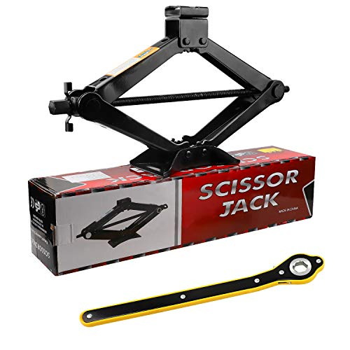 CPROSP Scissor Jack 2 Tons(4,409 lbs) Capacity with Ratchet Handle Effort Saving