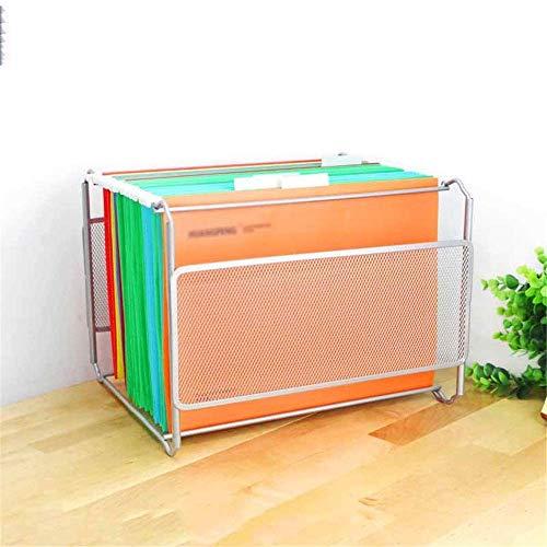 LAMZH, scaffale per libri da tavolo, organizer da appendere, in ferro, con griglia in metallo, formato A4, colore: bianco, dimensioni: 32,5 x 28,5 x 24,5 cm