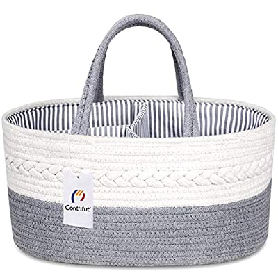 Conthfut Baby Diaper Caddy Organizer 100% Cotton Rope Nursery Storage Bin for Boys and Girls Large Tote Bag & Car Organizer with Removable Inserts Baby Shower Gift Basket