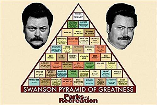 Buyartforless Parks and Recreation - Swanson Pyramid of Greatness 36x24 TV Art Print Poster Nick Offerman