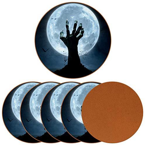 Posavasos para bebidas de Halloween con diseño de mano zombi de piel con impresión de tumba redonda para proteger muebles, resistente al calor, decoración de bar de cocina, juego de 6