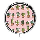 Caja de Pastillas de Plantas de Cactus Rosa Caja de Pastillas de Viaje