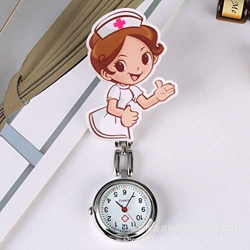 B/H Reloj de Bolsillo Médico Movimiento de Cuarzo,Lindo Reloj de Pecho para Enfermeras,Reloj de Bolsillo con Pasador de aleación médica-A,Reloj Médico de Bolsillo Colgante