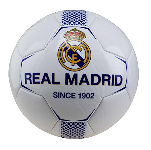 Real Madrid rm7gb1 de balón de fútbol de Mixta Infantil, Color Blanco/Azul