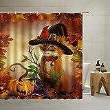 QYVLHD Herbst Kätzchen Duschvorhang Herbst Halloween Zauberer Hut Kitty Katze Kürbisse Ahorn Dschungel Tier Muster Badezimmer Dekorativer Polyesterstoff Duschvorhang mit Haken 177 x 178 cm, braun