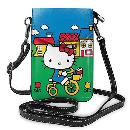 Hello Kitty monta una bicicleta bolso de teléfono pequeño Crossbody bolsa para las mujeres mini bolsos de hombro cartera de teléfono celular monedero con ranuras para tarjetas de crédito