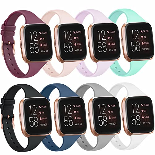 8 Pack Slim Silicone Bands Compatible with Fitbit Versa 2 Bands/Fitbit Versa/Fitbit Versa Lite/SE, Replacement Thin Narrow Wristbands Straps for Fitbit Versa 2 Smart Watch (8 Pack, Small)