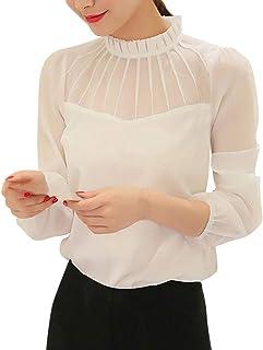 Fankle Women's Tops Blouse Shirt Ladies Chiffon Long Sleeve Slim Fit Tunic Tee Work Office Daily Wear