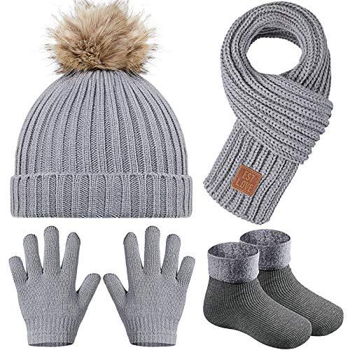 4 Pieces Kids Beanie Hat Scarf Gloves Socks Set Knit Winter Warm Set for Toddler (Grey)
