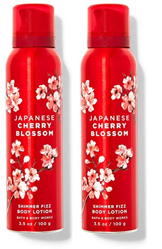 Bath and Body Works JAPANESE CHERRY BLOSSOM Shimmer Fizz Body Lotion Value Pack - Lot of 2 Full Size