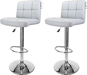Display4top Sgabelli da Bar, con Struttura cromata, Girevole a 360 Gradi, sedie Imbottite morbide, Set di 2 (Grigio)