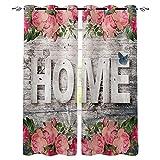 ZSDFPW Cortinas Opacas Letras Florales de Hojas Verdes Grises Rosadas Cortinas Térmicas Aislantes Poliéster Cortinas de impresión para Oficina Cuarto Decorativa Reducción de Ruido 75x166cm x2