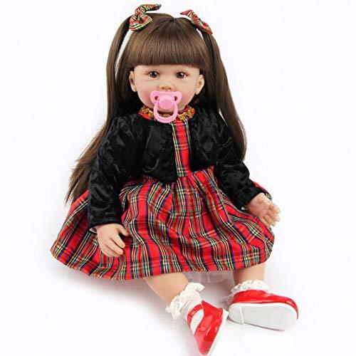 ZIYIUI 24 Pulgadas 60cm Realista Muñecas Reborn Bebé Vinilo de Silicona Suave Pelo Largo Bebe Reborn Niña Reales Silicona Recién Nacido Recién Nacidos Boca Magnética Bebe Reborn Dolls Juguetes