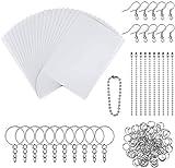 Kit de hojas de plástico retráctil Incluye 20 Hojas de Plástico Retráctil y 130 piezas de accesorios para llaveros para Bricolaje Adornos o Manualidades Creativas