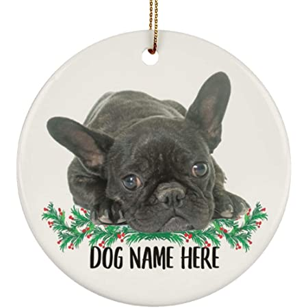 Lovesout Personalized Name Brindle French Bulldog Gifts 2021 Christmas Tree Ornaments Circle Ceramic