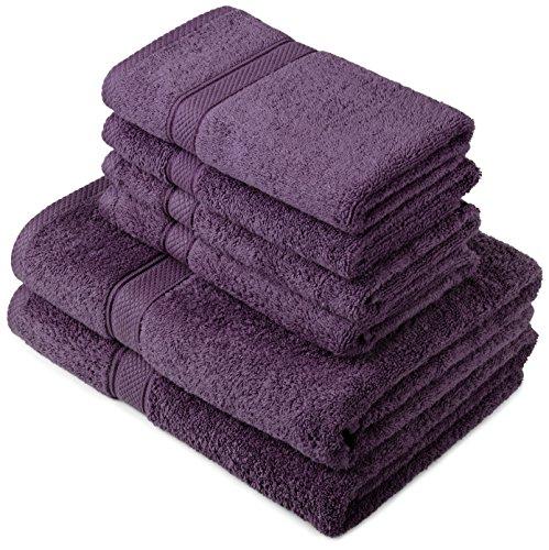 Pinzon by Amazon Handtuchset aus Baumwolle, Pflaume, 2 Bade- und 4 Handtücher